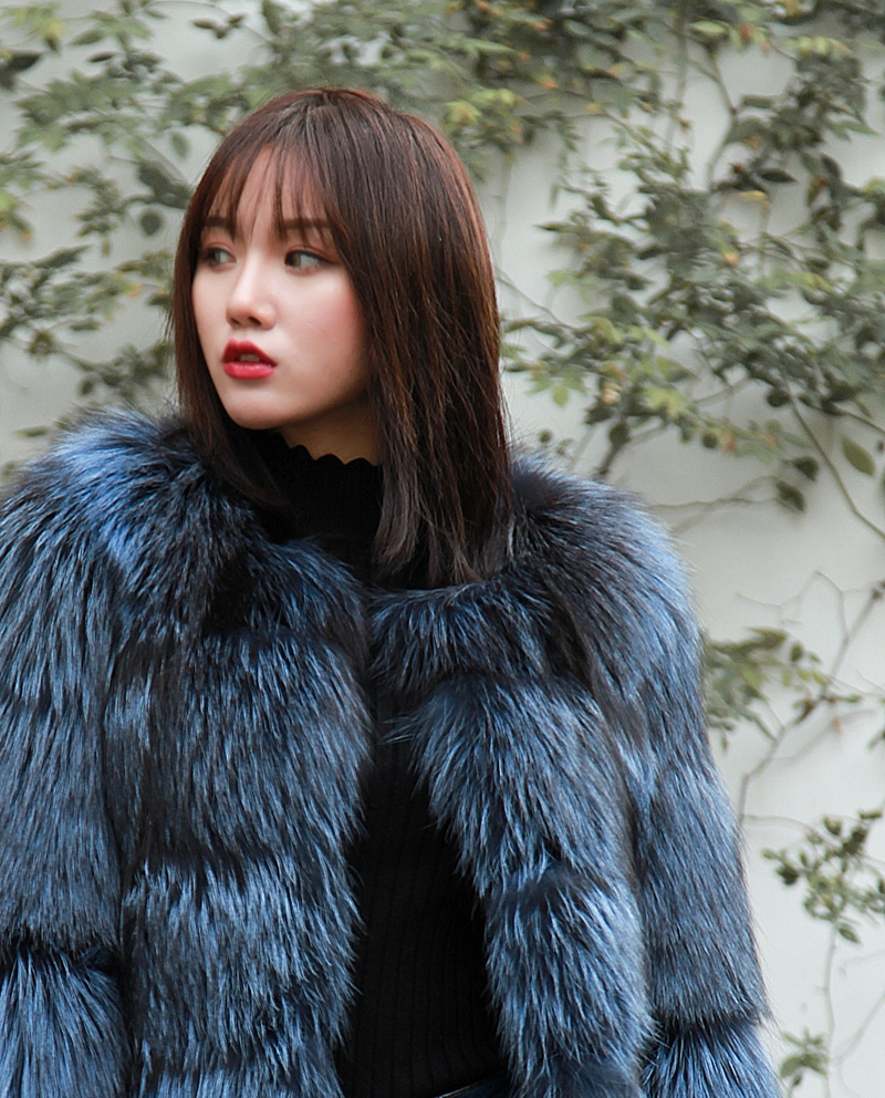 Cropped Silver Fox Fur Jacket in Blue 0005-12