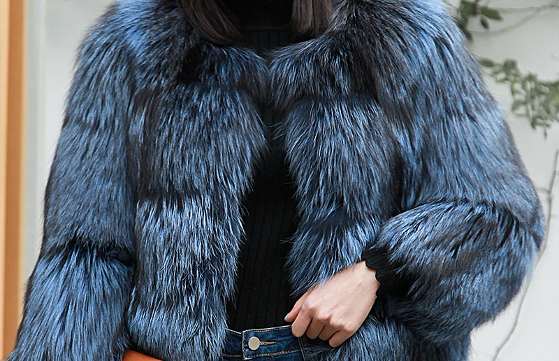 Cropped Silver Fox Fur Jacket in Blue 0005-13