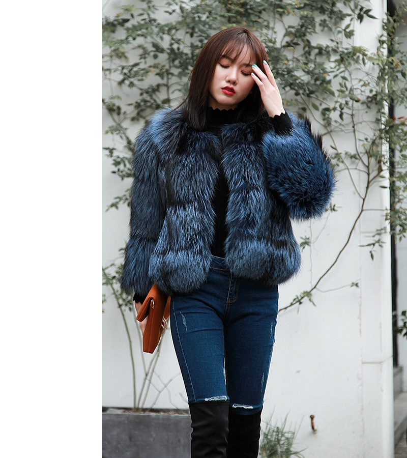 Cropped Silver Fox Fur Jacket in Blue 0005-14