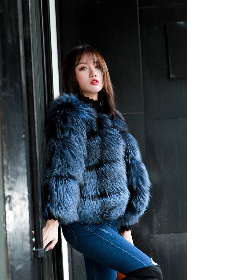 Cropped Silver Fox Fur Jacket in Blue 0005-15
