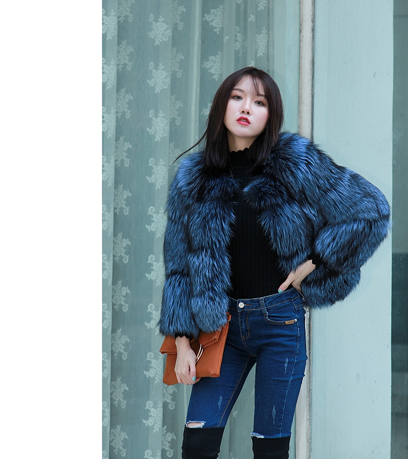 Cropped Silver Fox Fur Jacket in Blue 0005-16