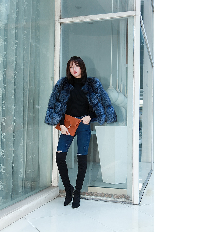 Cropped Silver Fox Fur Jacket in Blue 0005-19