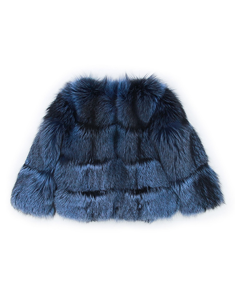 Cropped Silver Fox Fur Jacket in Blue 0005-2