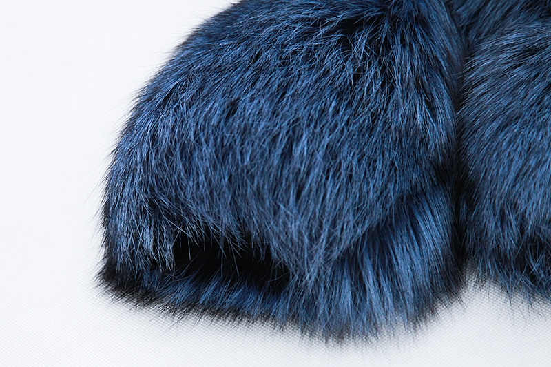 Cropped Silver Fox Fur Jacket in Blue 0005-5