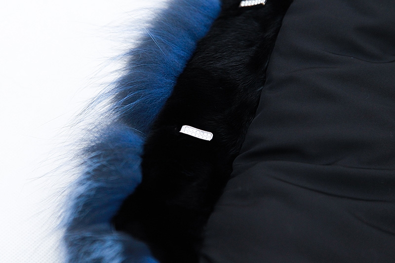 Cropped Silver Fox Fur Jacket in Blue 0005-7