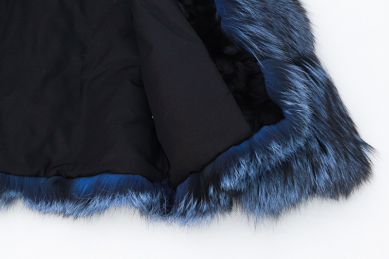 Cropped Silver Fox Fur Jacket in Blue 0005-8