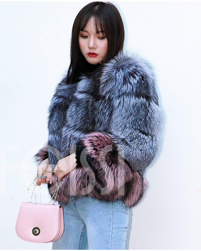 Two-tone Silver Fox Fur Cropped Jacket 0006-1