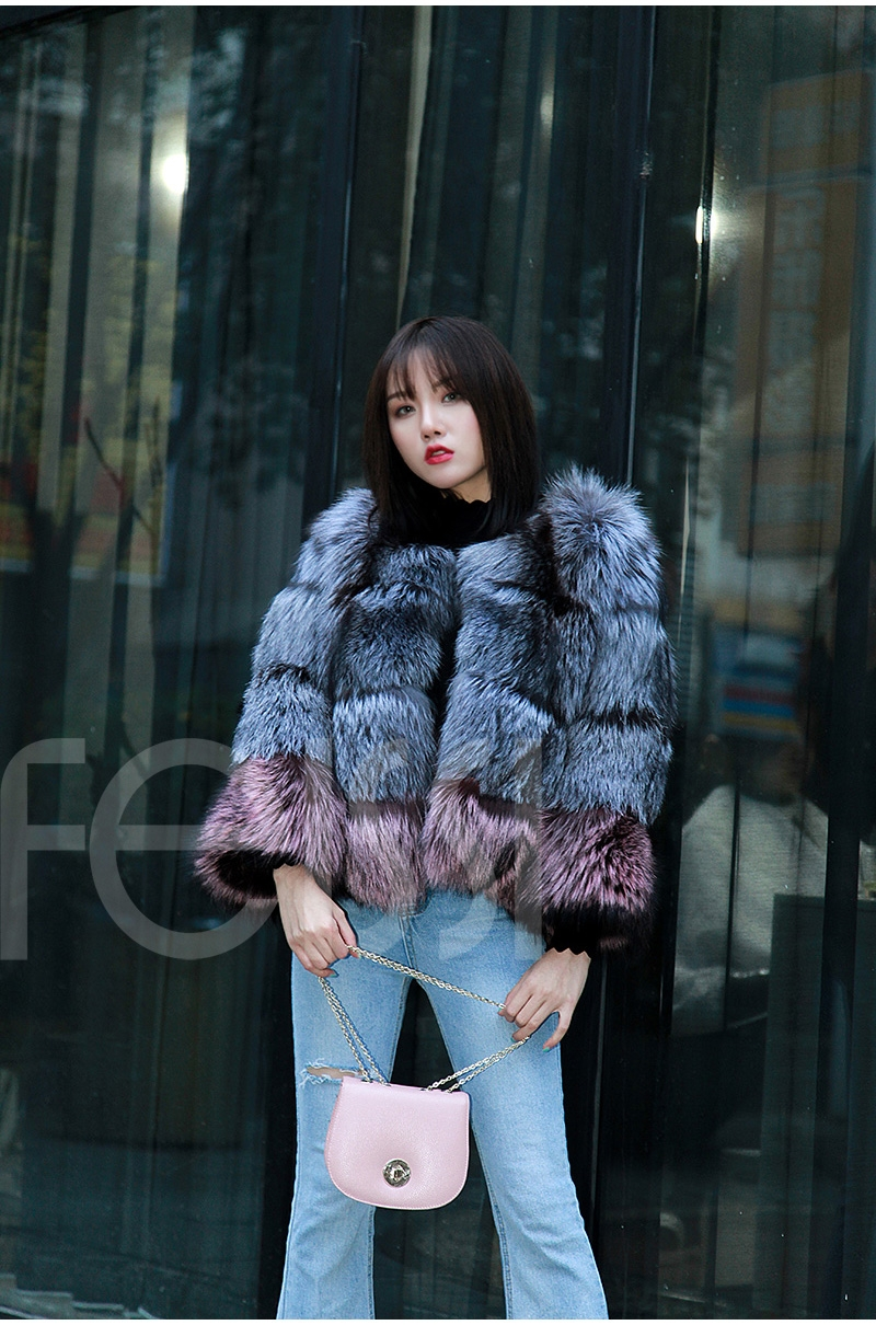 Two-tone Silver Fox Fur Cropped Jacket 0006-11
