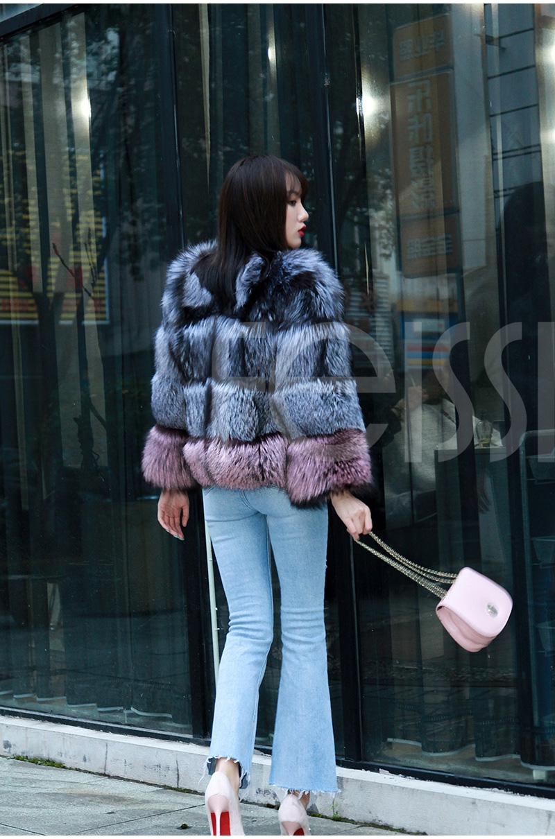 Two-tone Silver Fox Fur Cropped Jacket 0006-13