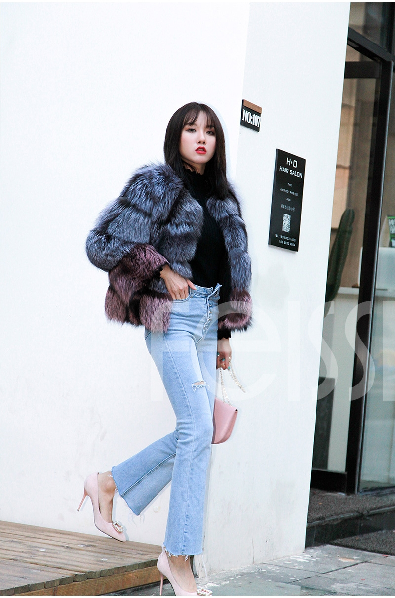 Two-tone Silver Fox Fur Cropped Jacket 0006-2