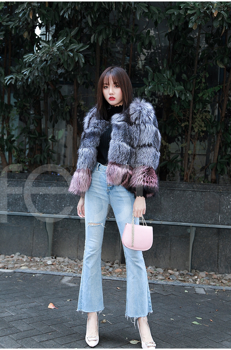 Two-tone Silver Fox Fur Cropped Jacket 0006-24