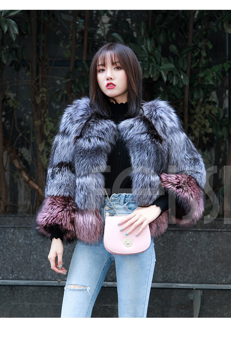 Two-tone Silver Fox Fur Cropped Jacket 0006-25