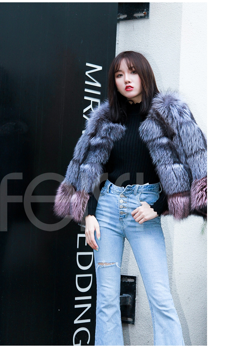 Two-tone Silver Fox Fur Cropped Jacket 0006-26