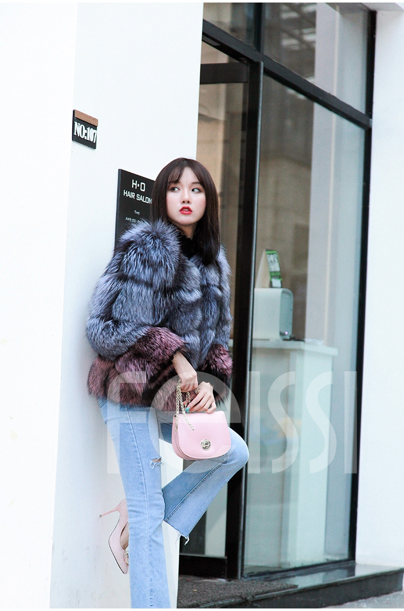 Two-tone Silver Fox Fur Cropped Jacket 0006-4