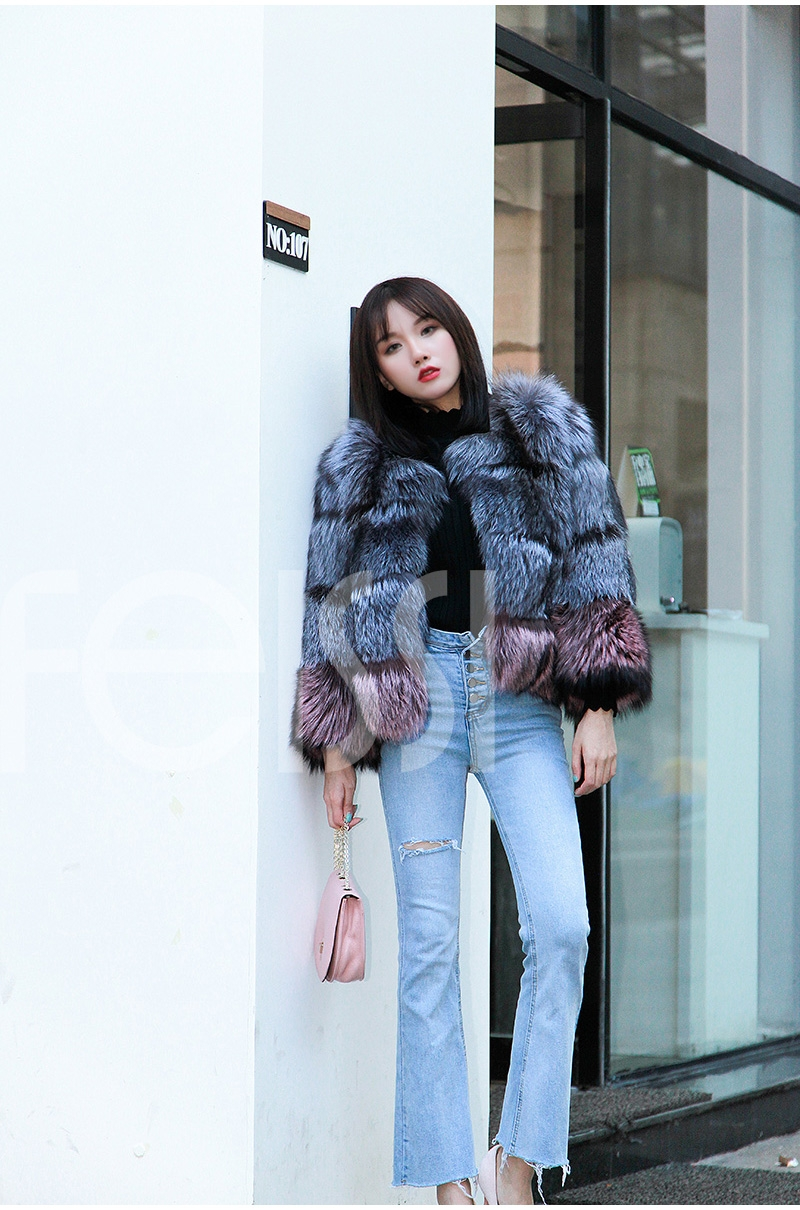 Two-tone Silver Fox Fur Cropped Jacket 0006-5