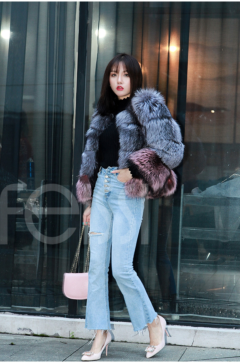 Two-tone Silver Fox Fur Cropped Jacket 0006-7
