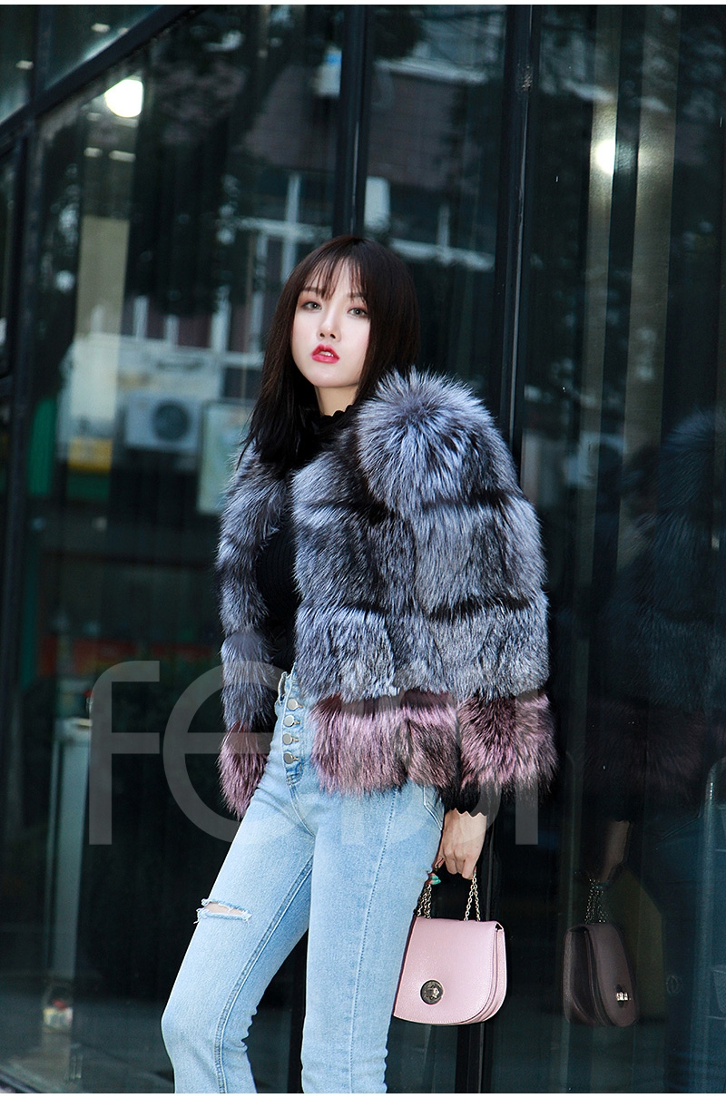 Two-tone Silver Fox Fur Cropped Jacket 0006-8
