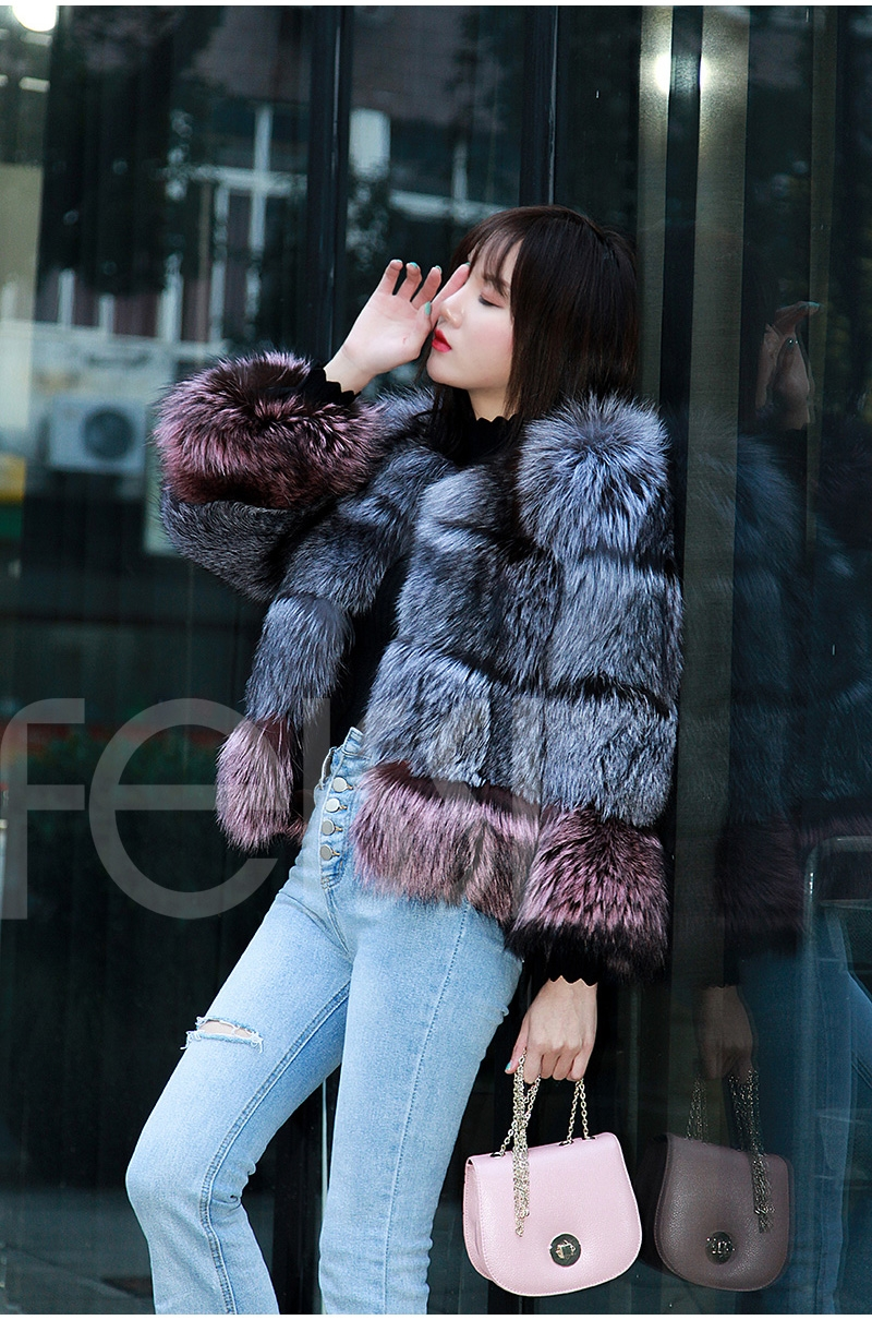 Two-tone Silver Fox Fur Cropped Jacket 0006-9