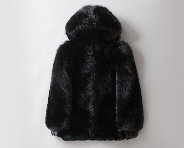 Men's Fox Fur Black Hooded Zip Coat 0008-4