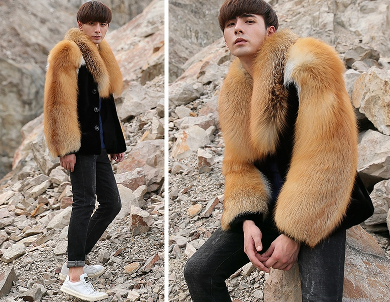 Men's Black Mink Fur Jacket with Red Fox Fur Collar and Sleeves 0011-2