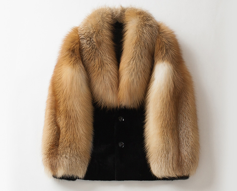 Men's Black Mink Fur Jacket with Red Fox Fur Collar and Sleeves 0011-3