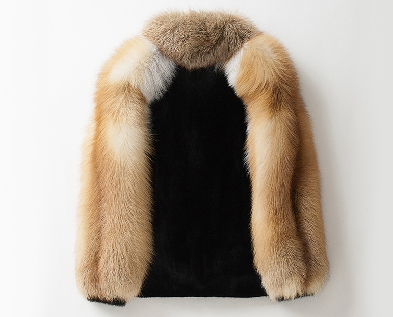 Men's Black Mink Fur Jacket with Red Fox Fur Collar and Sleeves 0011-4