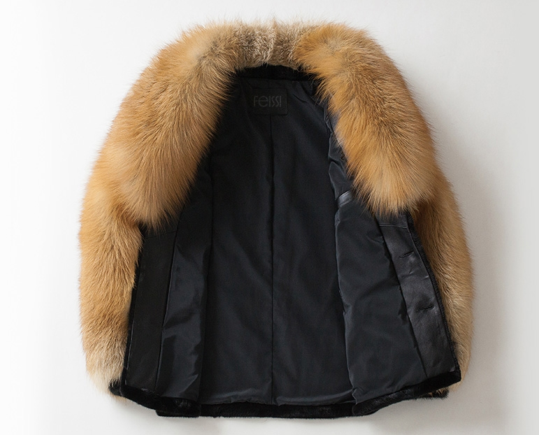 Men's Black Mink Fur Jacket with Red Fox Fur Collar and Sleeves 0011-5