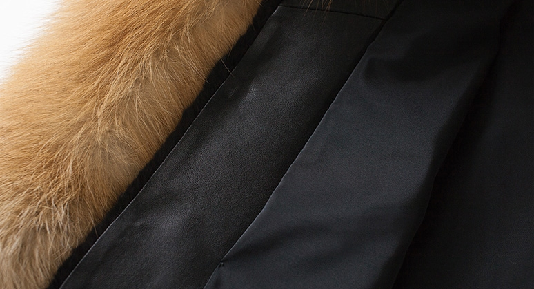 Men's Black Mink Fur Jacket with Red Fox Fur Collar and Sleeves 0011-9