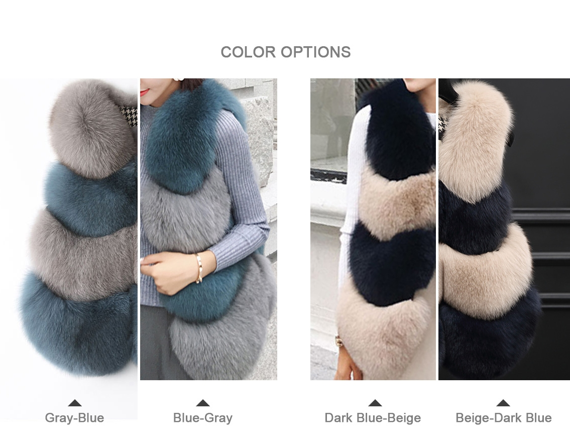 Two-tone Fox Fur Vest 0012-0