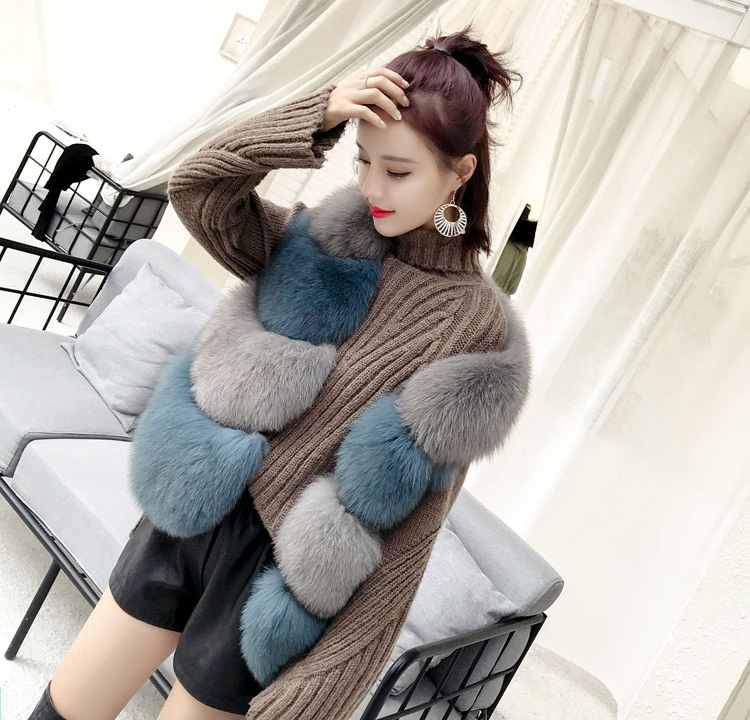 Two-tone Fox Fur Vest 0012-16