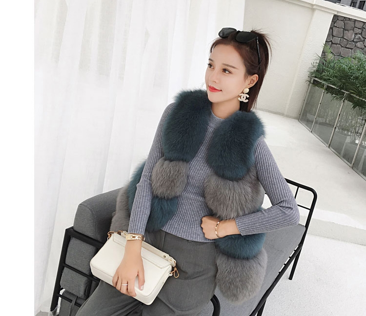 Two-tone Fox Fur Vest 0012-3