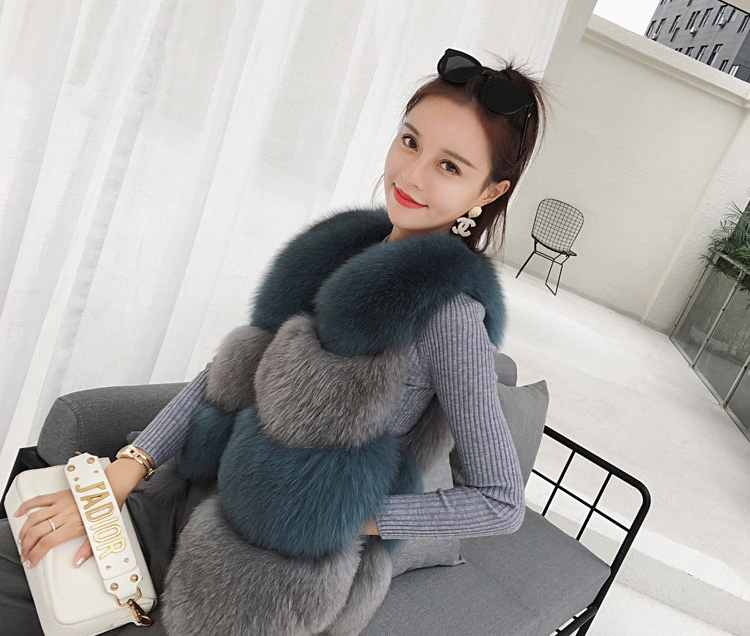 Two-tone Fox Fur Vest 0012-5