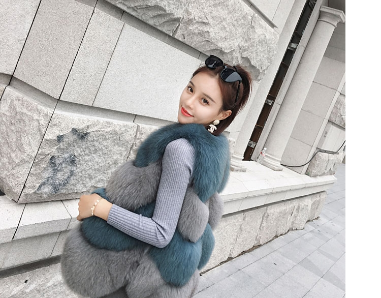 Two-tone Fox Fur Vest 0012-6