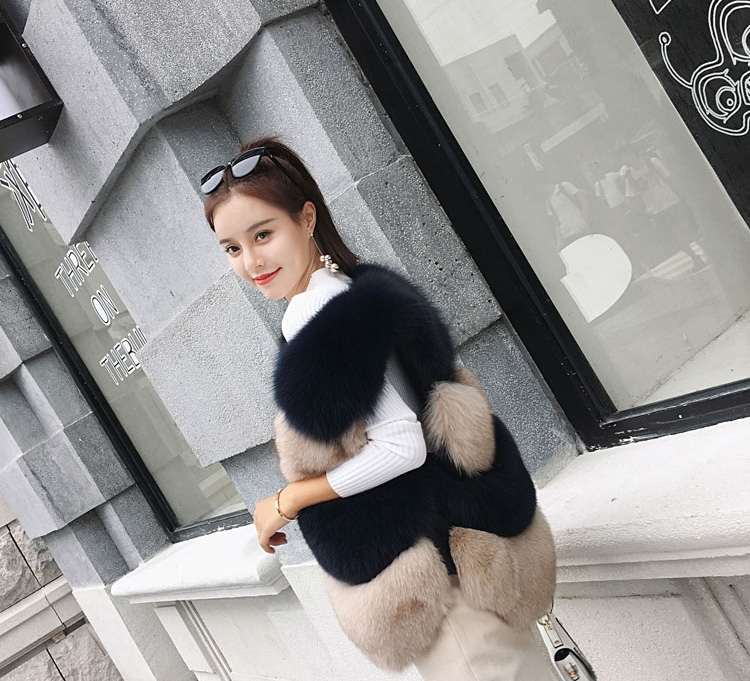 Two-tone Fox Fur Vest 0012-8