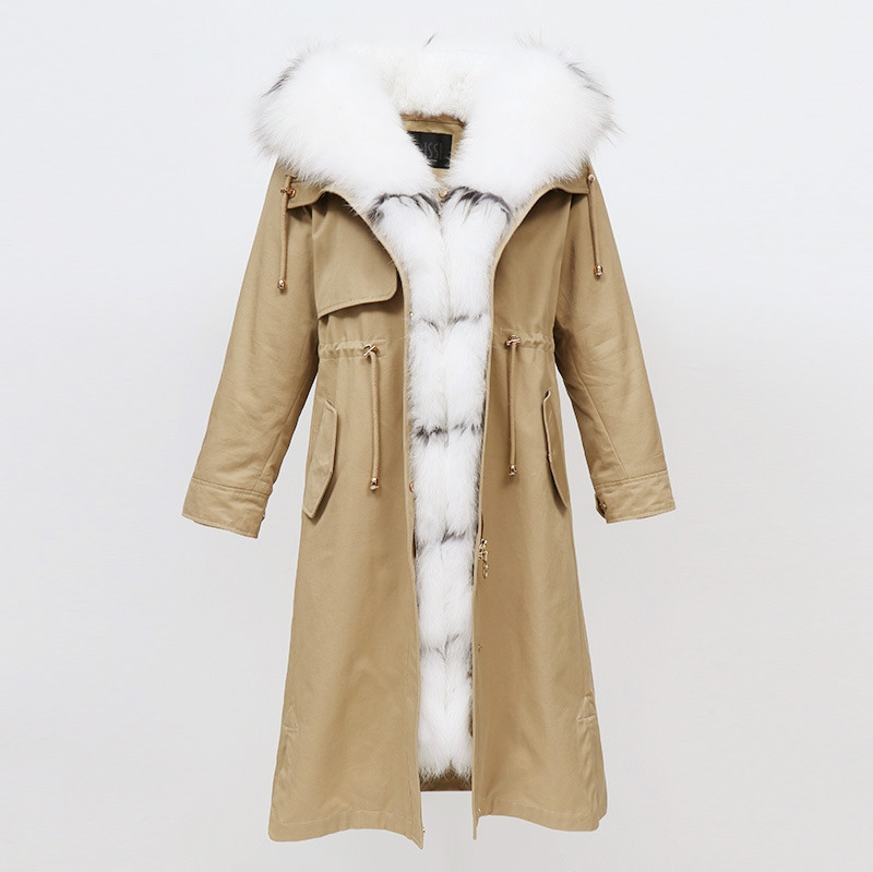 Raccoon Fur Trimmed Hooded Parka with Removable Rabbit Fur Liner 0014-1