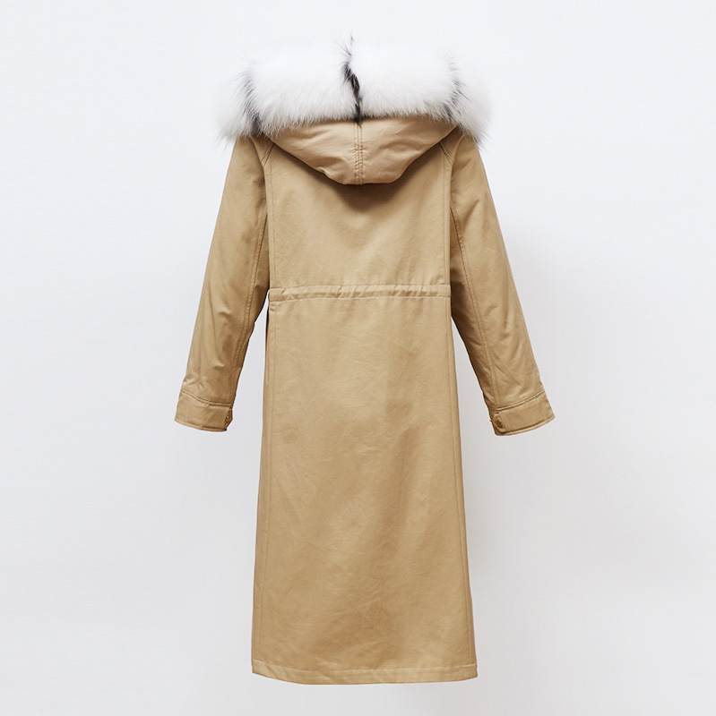 Raccoon Fur Trimmed Hooded Parka with Removable Rabbit Fur Liner 0014-2