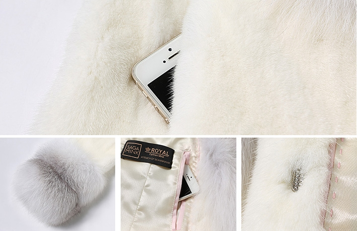 White Mink Fur Coat with Shadow Blue Frost Fox Fur Trim 0018-2