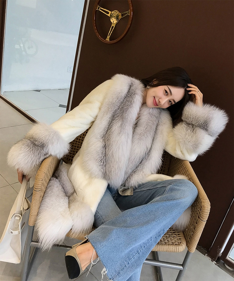 White Mink Fur Coat with Shadow Blue Frost Fox Fur Trim 0018-3