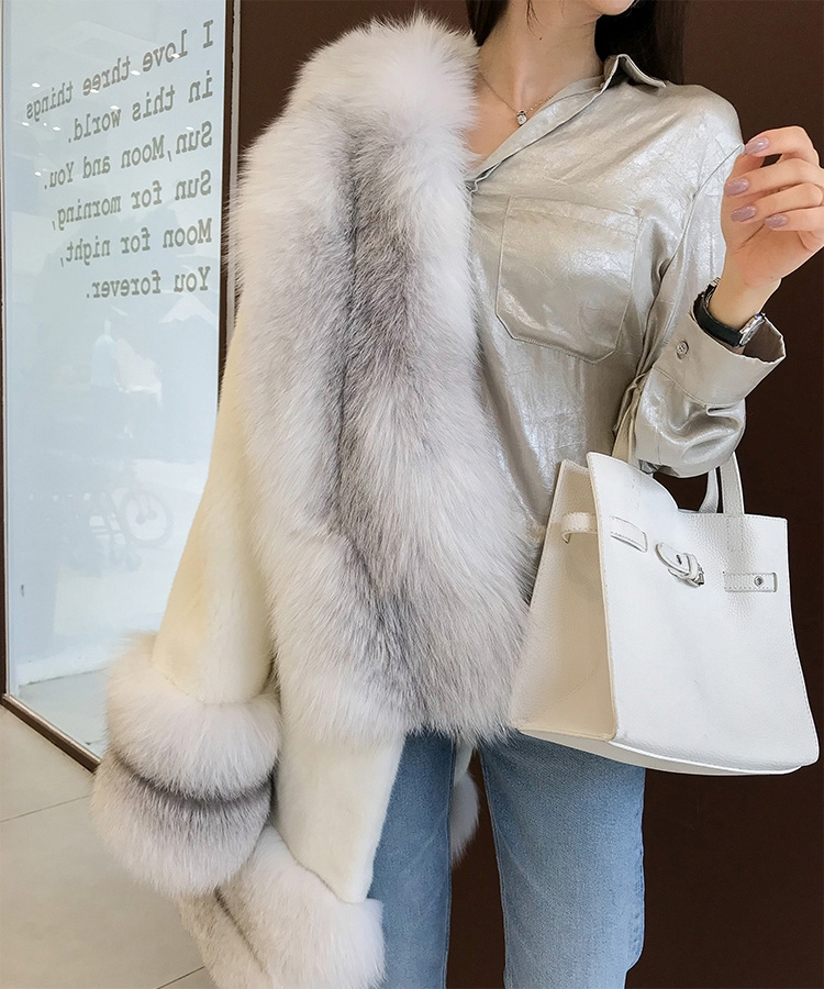 White Mink Fur Coat with Shadow Blue Frost Fox Fur Trim 0018-4