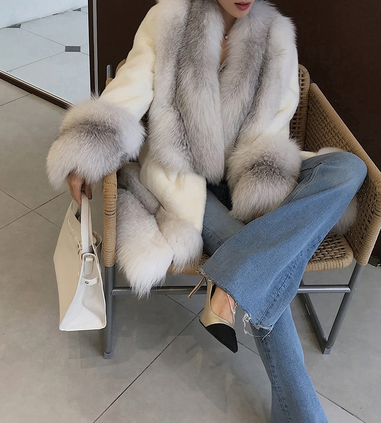 White Mink Fur Coat with Shadow Blue Frost Fox Fur Trim 0018-5
