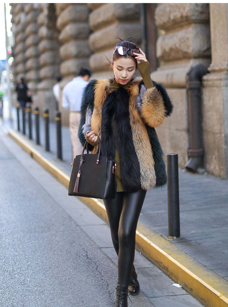 Multicolored Fox Fur Jacket 002 Details 1