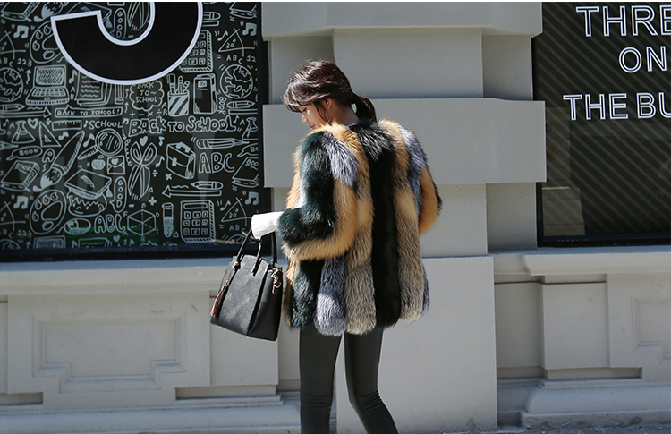Multicolored Fox Fur Jacket 002 Details 3