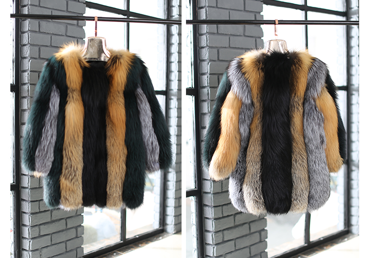 Multicolored Fox Fur Jacket 002 Details 4