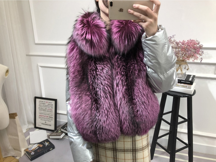 Silver Fox Fur Trimmed Down-filled Cropped Coat Jacket 0023-10