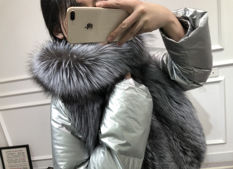 Silver Fox Fur Trimmed Down-filled Cropped Coat Jacket 0023-14