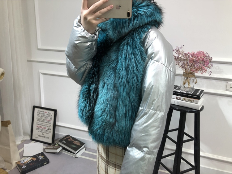 Silver Fox Fur Trimmed Down-filled Cropped Coat Jacket 0023-6