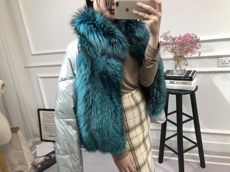 Silver Fox Fur Trimmed Down-filled Cropped Coat Jacket 0023-7