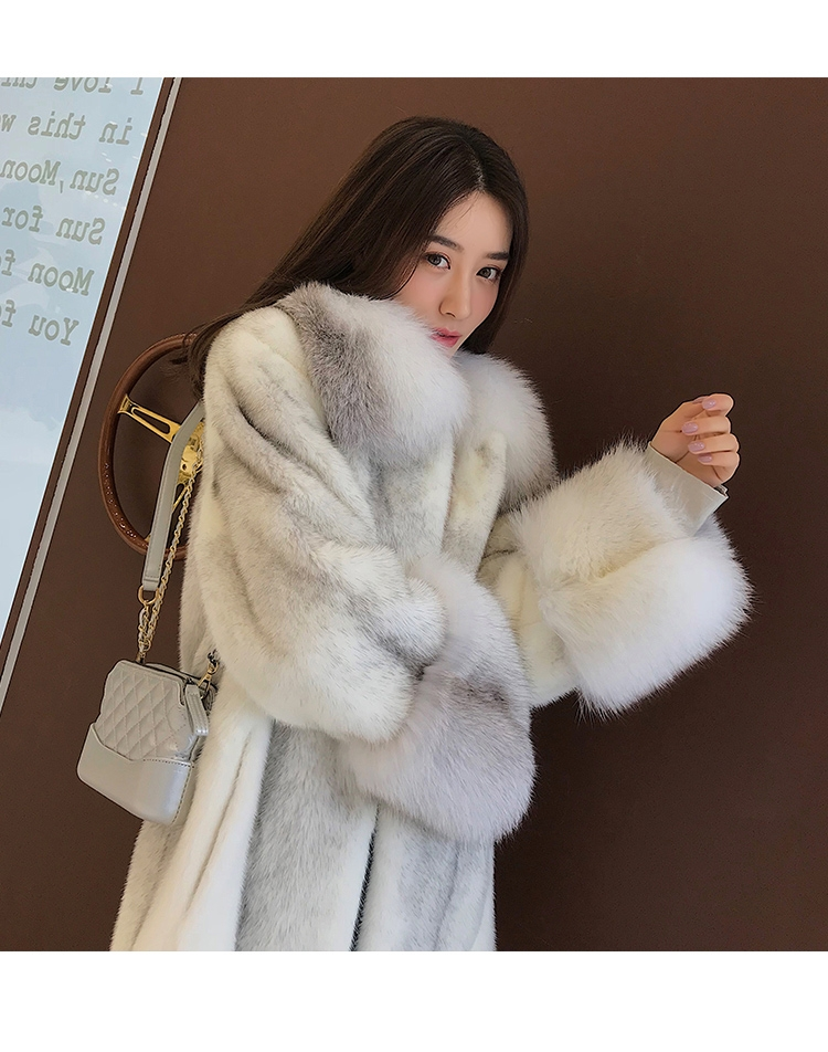 Silver Cross Mink Fur Coat with Shadow Blue Frost Fox Fur Trim 0038-2
