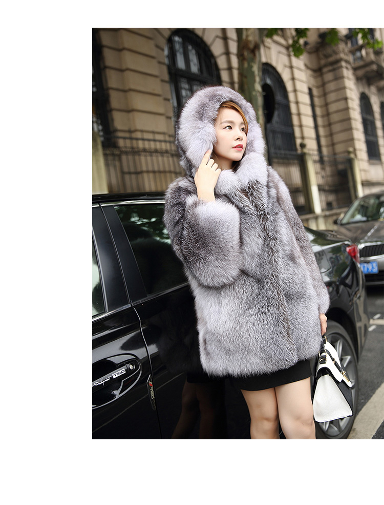 Blue Frost Fox Fur Coat with Hood Details 1