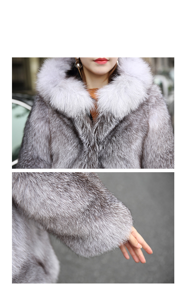 Blue Frost Fox Fur Coat with Hood Details 4